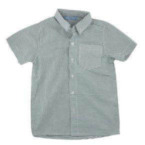 Рубашка для мальчика Турция 231090 бело-зелёная полоска