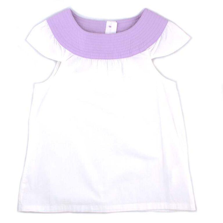 Блуза для девочки PaMaYa 232419 бело-сиреневая