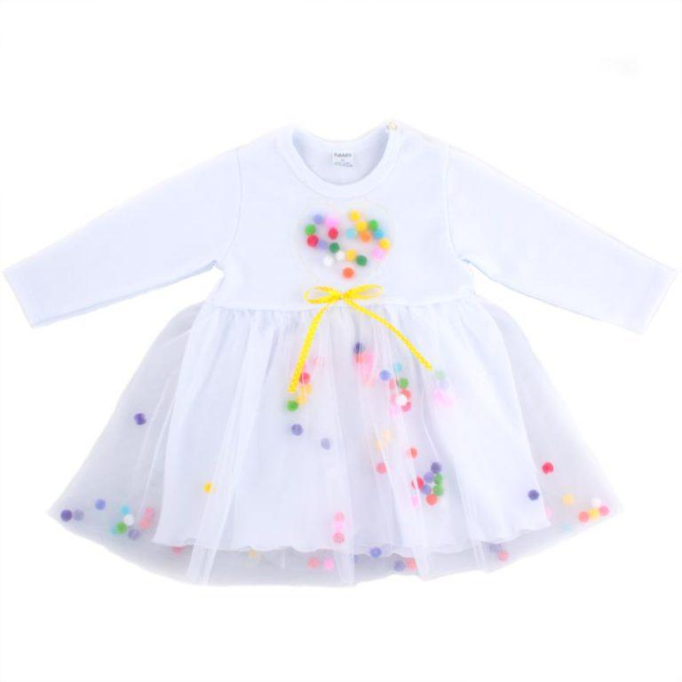 Платье с фатином и пампонами арт:9-50 белое