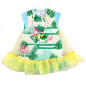 Платье с фатином и бусами арт:9-60 цветы