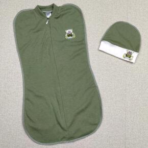 Комплект евро пелёнка-кокон и шапочка для мальчика PaMaYa 9-106-2