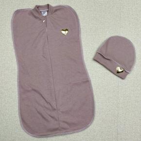 Комплект евро пелёнка-кокон и шапочка для девочки PaMaYa 9-106-3