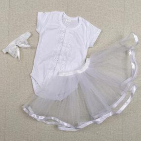 Комплект для крещения с юбкой для девочки PaMaYa 1-101-1